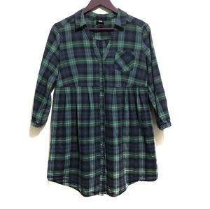 3 for $20 H&M Plaid Button Down Babydoll Tunic Top